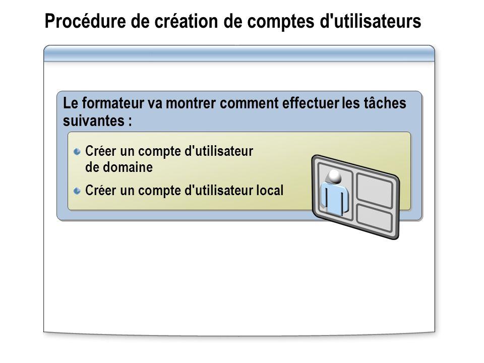 Procédure de création de comptes d utilisateurs Le formateur va montrer comment effectuer les tâches suivantes : Créer un compte d utilisateur de domaine Créer un compte d utilisateur local Créer un compte d utilisateur de domaine Créer un compte d utilisateur local