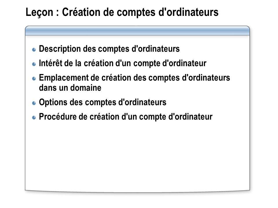 Leçon : Création de comptes d ordinateurs Description des comptes d ordinateurs Intérêt de la création d un compte d ordinateur Emplacement de création des comptes d ordinateurs dans un domaine Options des comptes d ordinateurs Procédure de création d un compte d ordinateur