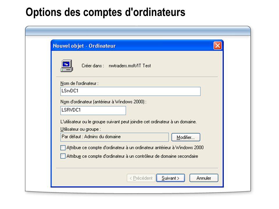 Options des comptes d ordinateurs