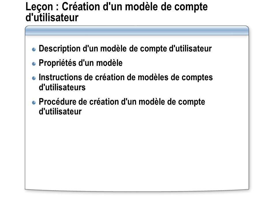 Leçon : Création d un modèle de compte d utilisateur Description d un modèle de compte d utilisateur Propriétés d un modèle Instructions de création de modèles de comptes d utilisateurs Procédure de création d un modèle de compte d utilisateur