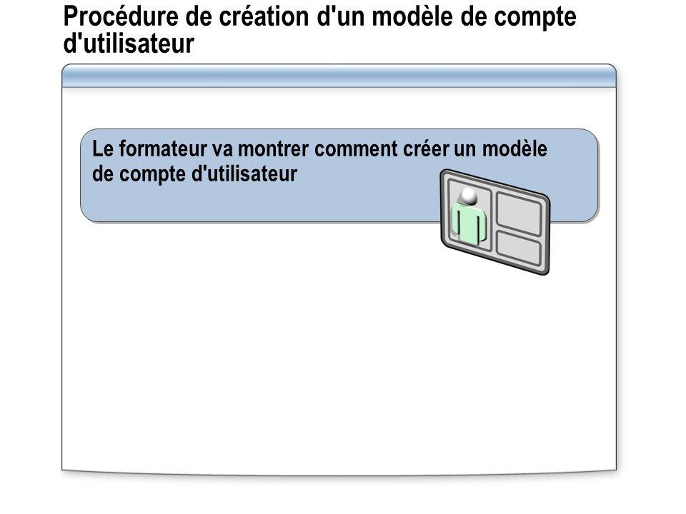 Procédure de création d un modèle de compte d utilisateur Le formateur va montrer comment créer un modèle de compte d utilisateur