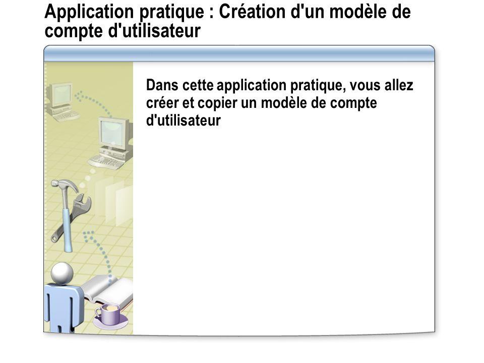 Application pratique : Création d un modèle de compte d utilisateur Dans cette application pratique, vous allez créer et copier un modèle de compte d utilisateur