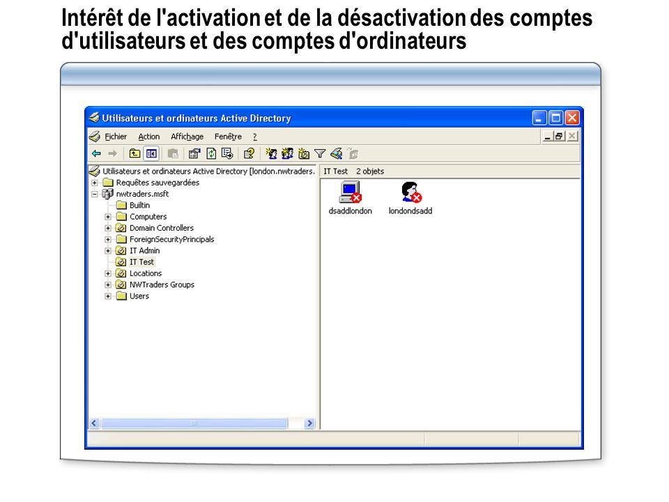 Intérêt de l activation et de la désactivation des comptes d utilisateurs et des comptes d ordinateurs