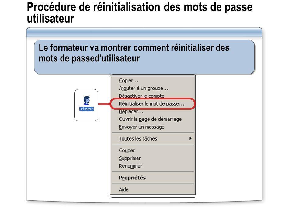 Procédure de réinitialisation des mots de passe utilisateur Le formateur va montrer comment réinitialiser des mots de passed utilisateur