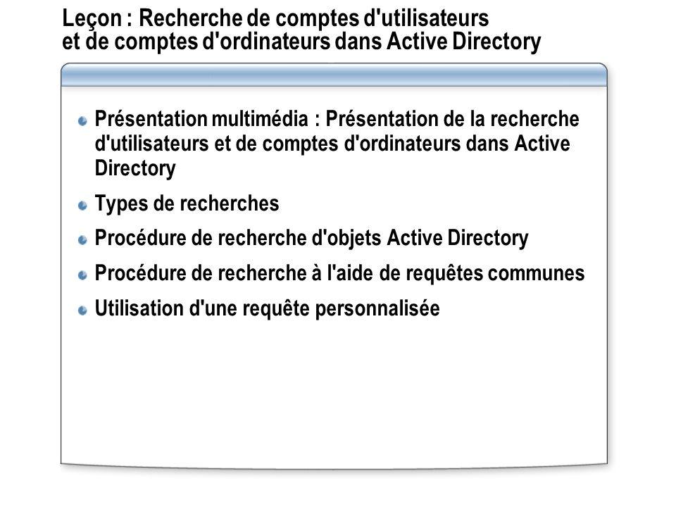 Leçon : Recherche de comptes d utilisateurs et de comptes d ordinateurs dans Active Directory Présentation multimédia : Présentation de la recherche d utilisateurs et de comptes d ordinateurs dans Active Directory Types de recherches Procédure de recherche d objets Active Directory Procédure de recherche à l aide de requêtes communes Utilisation d une requête personnalisée