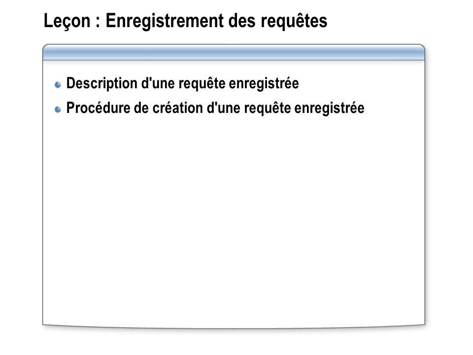Leçon : Enregistrement des requêtes Description d une requête enregistrée Procédure de création d une requête enregistrée