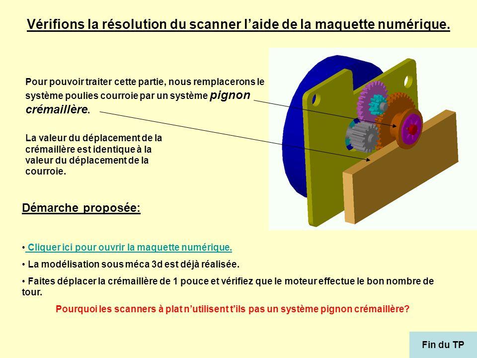 Vérifions la résolution du scanner laide de la maquette numérique. Pour pouvoir traiter cette partie, nous remplacerons le système poulies courroie pa