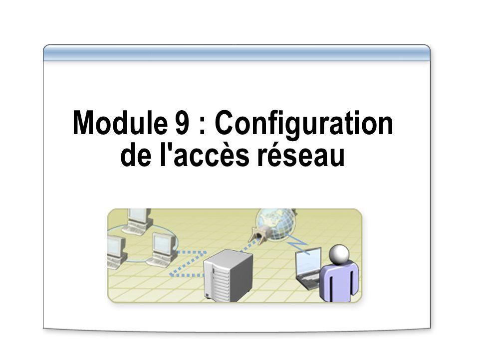 Méthodes d authentification disponibles pour l accès réseau à distance : Méthodes d authentification disponibles pour une connexion d accès à distance Serveur d accès distant Utilisateur d accès distant Méthode la plus puissante : EAP-TLS avec cartes à puce Authentification mutuelle CHAP PAP SPAP MS-CHAP CHAP PAP SPAP MS-CHAP MS-CHAP v2 EAP-TLS EAP-MD5 Challenge MS-CHAP v2 EAP-TLS EAP-MD5 Challenge