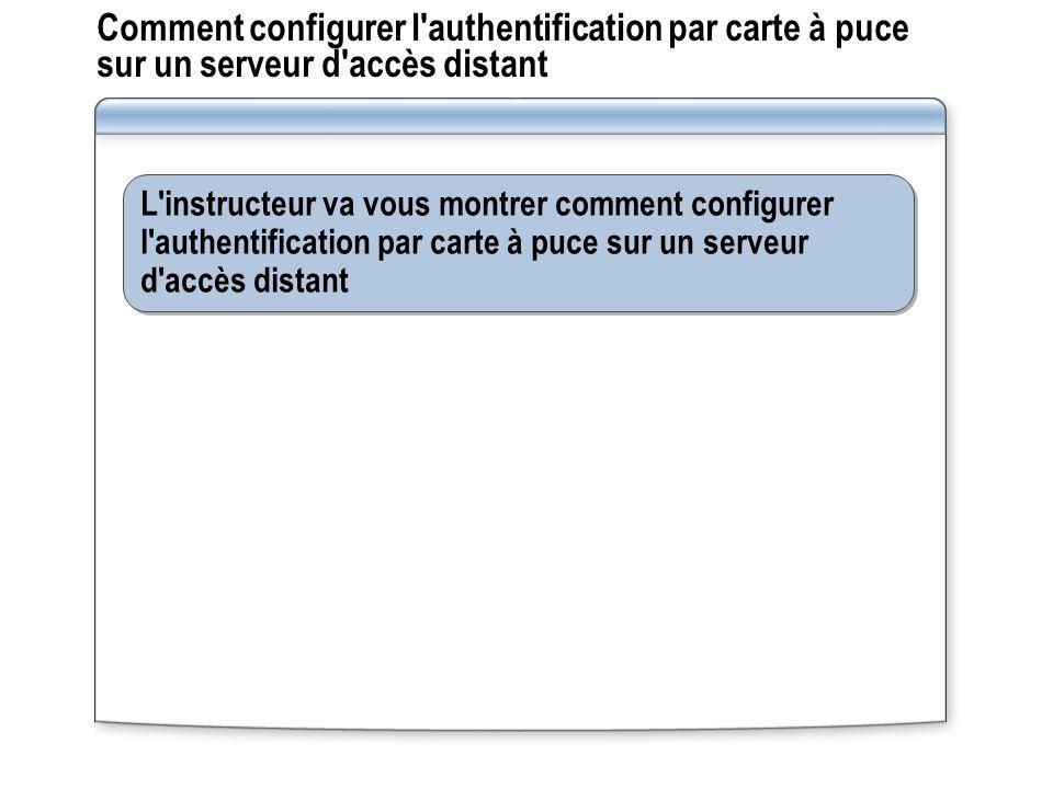 Comment configurer l'authentification par carte à puce sur un serveur d'accès distant L'instructeur va vous montrer comment configurer l'authentificat