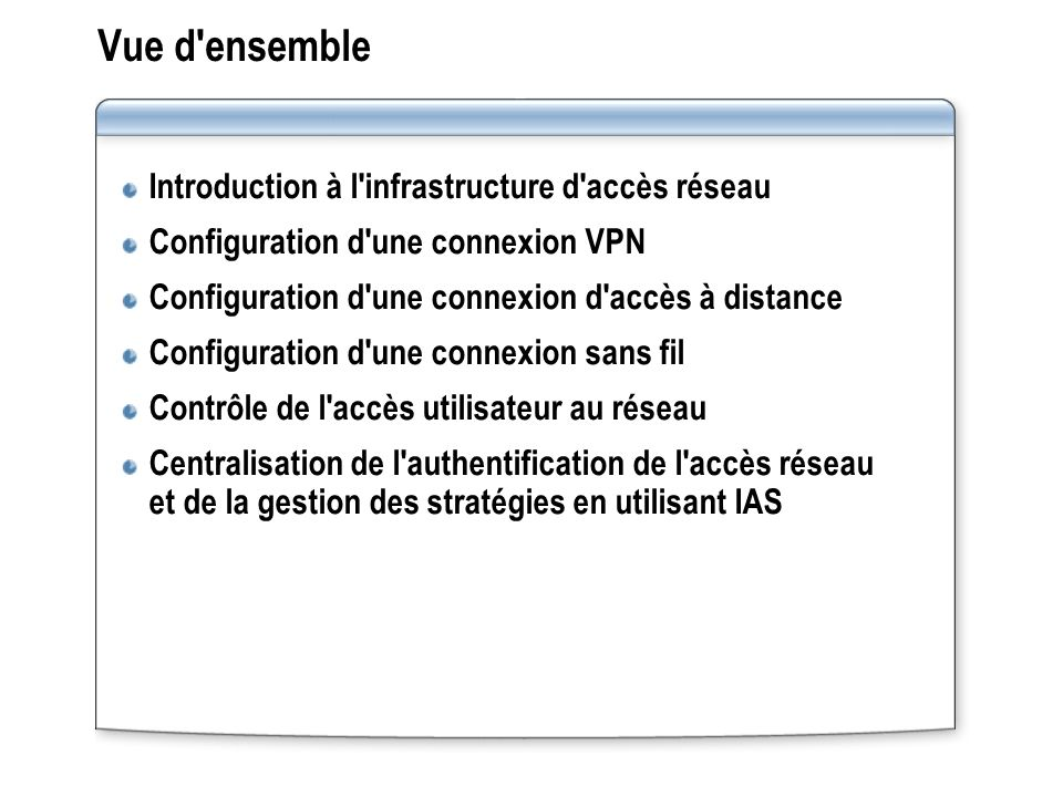 Leçon : Introduction à l infrastructure d accès réseau Présentation multimédia : Introduction à l infrastructure d accès réseau Composants d une infrastructure d accès réseau Configuration requise pour un serveur d accès réseau Qu est-ce qu un client d accès réseau .