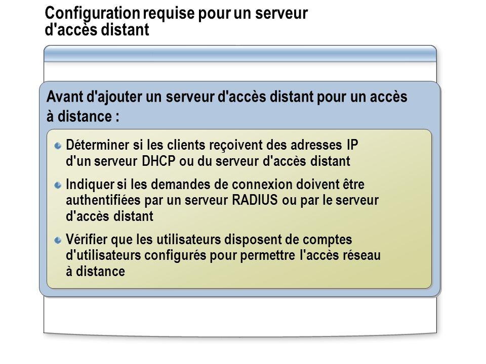 Configuration requise pour un serveur d'accès distant Avant d'ajouter un serveur d'accès distant pour un accès à distance : Déterminer si les clients