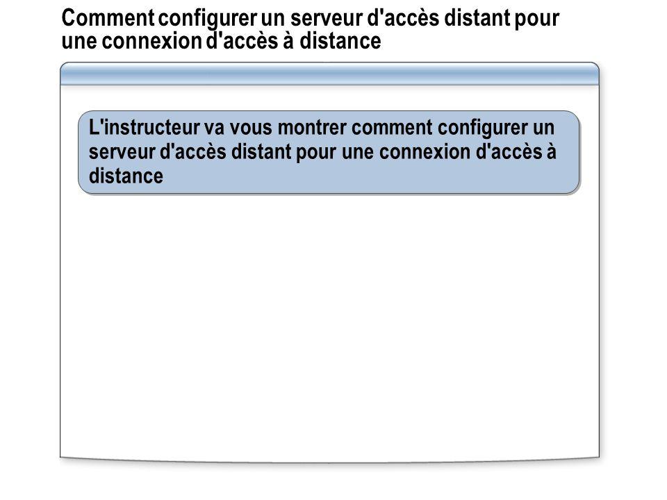 Comment configurer un serveur d'accès distant pour une connexion d'accès à distance L'instructeur va vous montrer comment configurer un serveur d'accè