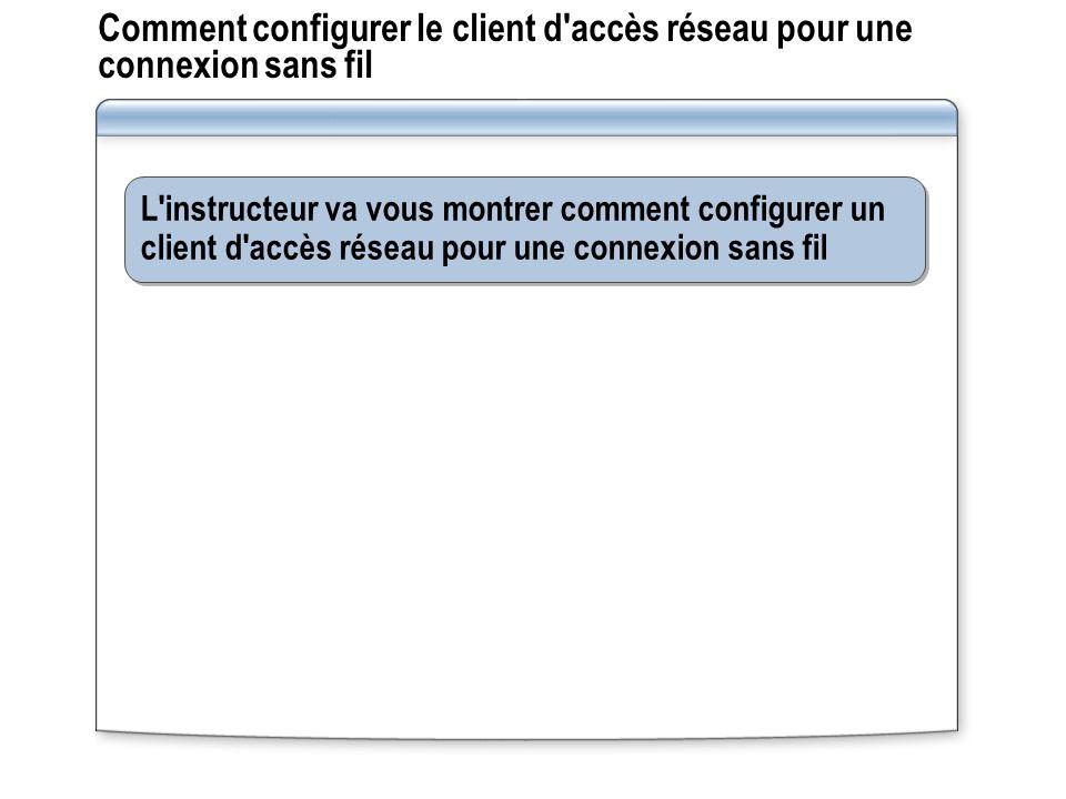 Comment configurer le client d'accès réseau pour une connexion sans fil L'instructeur va vous montrer comment configurer un client d'accès réseau pour