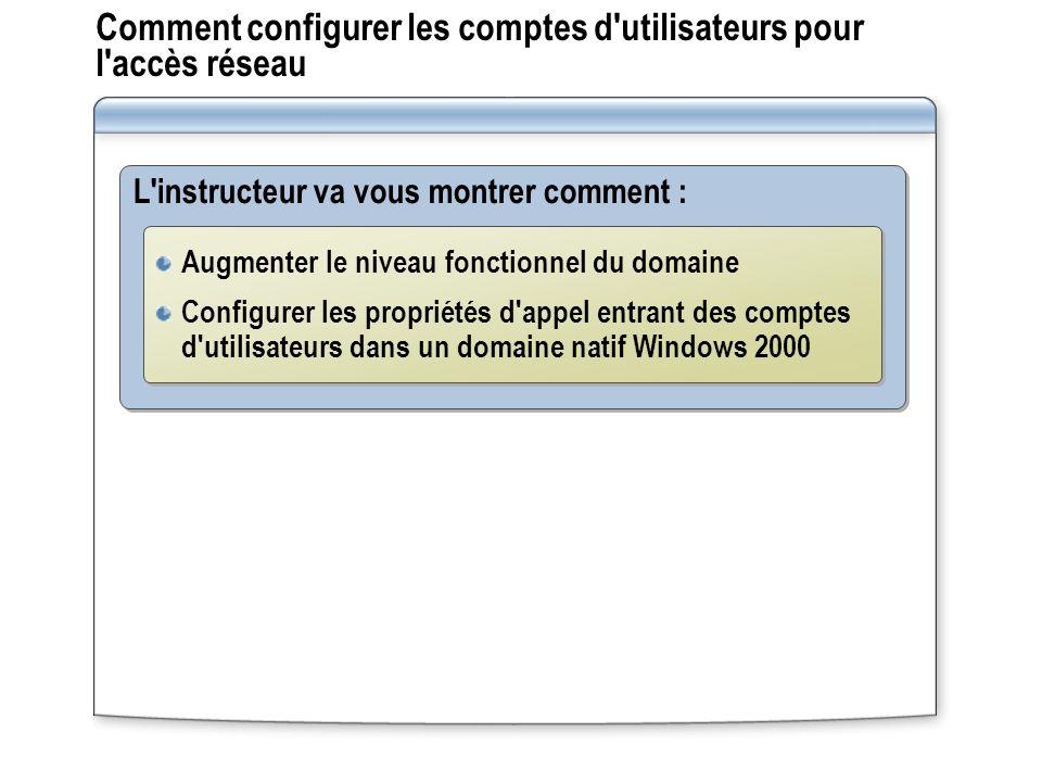 Comment configurer les comptes d'utilisateurs pour l'accès réseau L'instructeur va vous montrer comment : Augmenter le niveau fonctionnel du domaine C