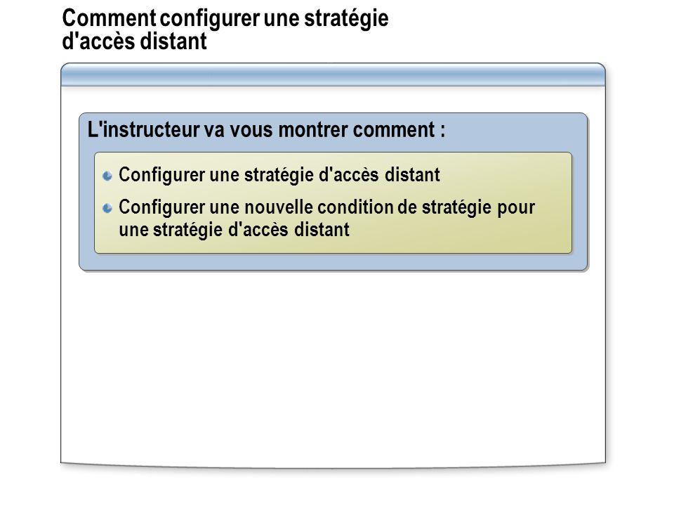Comment configurer une stratégie d'accès distant L'instructeur va vous montrer comment : Configurer une stratégie d'accès distant Configurer une nouve