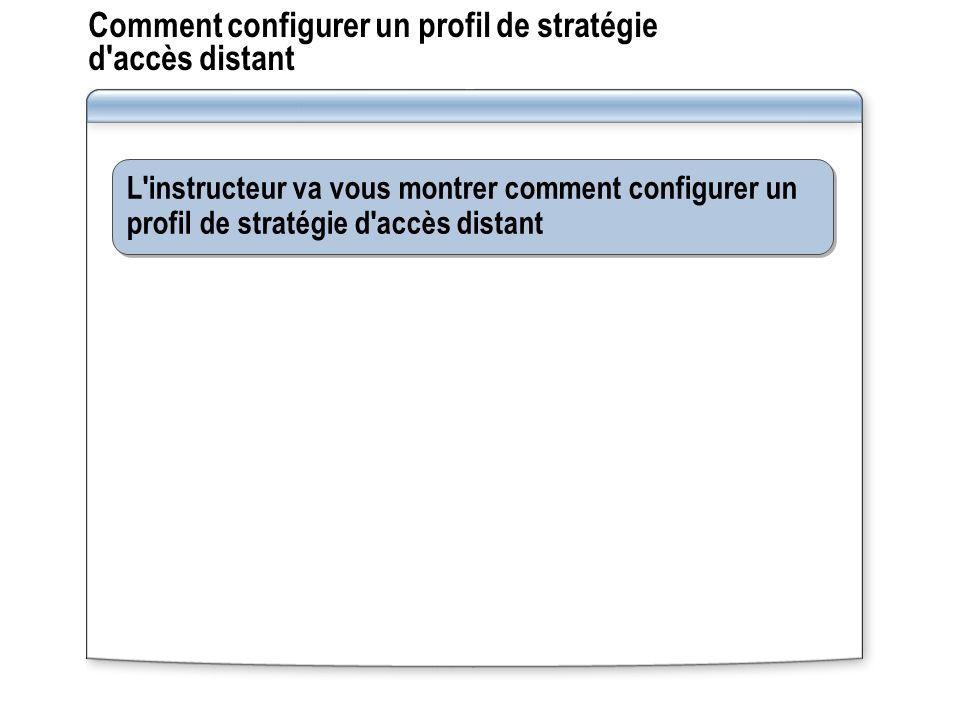 Comment configurer un profil de stratégie d'accès distant L'instructeur va vous montrer comment configurer un profil de stratégie d'accès distant