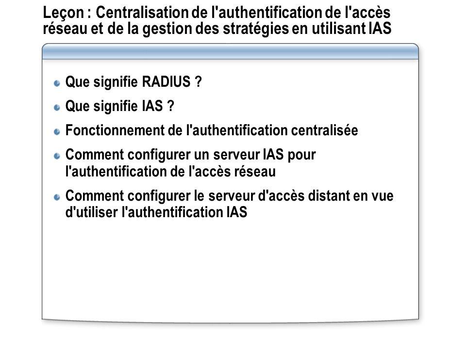Leçon : Centralisation de l'authentification de l'accès réseau et de la gestion des stratégies en utilisant IAS Que signifie RADIUS ? Que signifie IAS