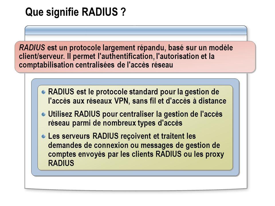 Que signifie RADIUS ? RADIUS est un protocole largement répandu, basé sur un modèle client/serveur. Il permet l'authentification, l'autorisation et la