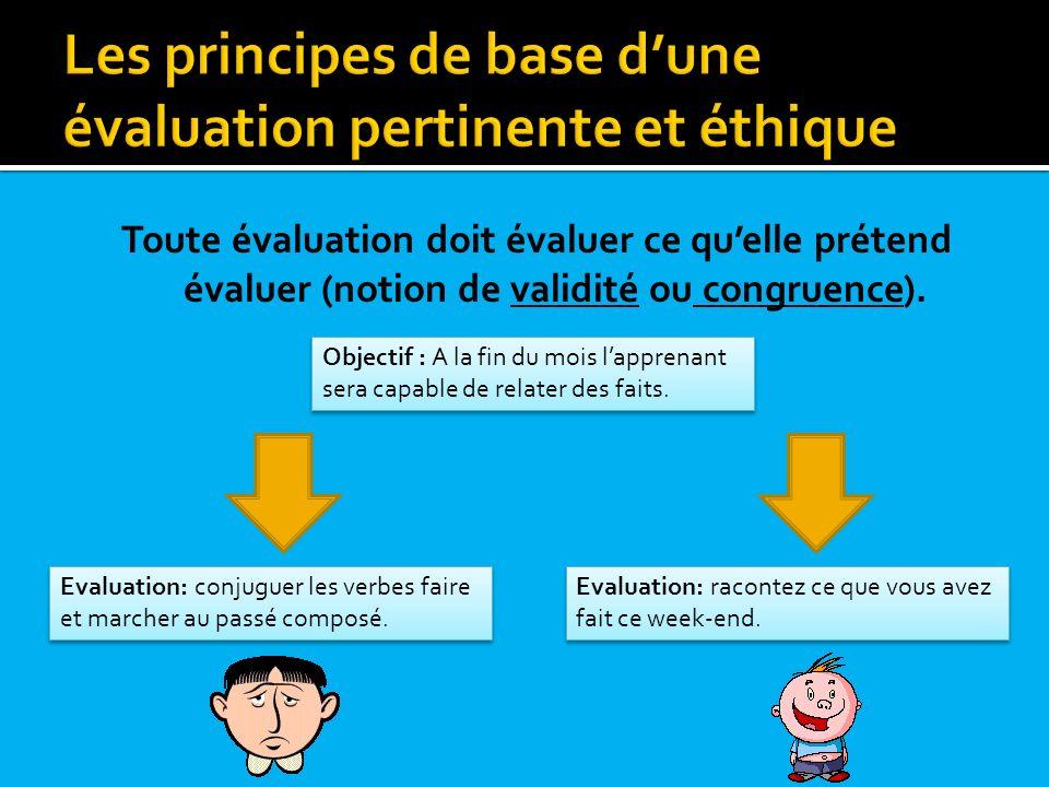 Toute évaluation doit évaluer ce quelle prétend évaluer (notion de validité ou congruence). Objectif : A la fin du mois lapprenant sera capable de rel