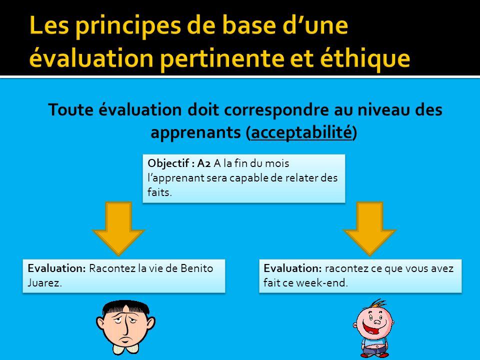 Toute évaluation doit correspondre au niveau des apprenants (acceptabilité) Objectif : A2 A la fin du mois lapprenant sera capable de relater des fait