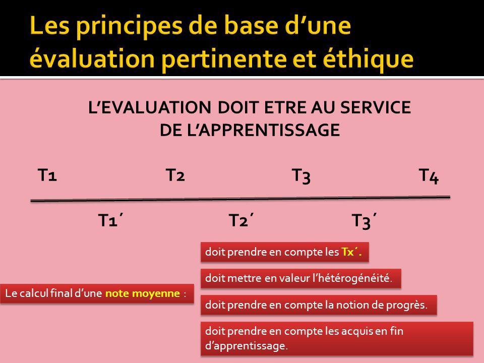 LEVALUATION DOIT ETRE AU SERVICE DE LAPPRENTISSAGE T1 T2 T3T4 T1´ T2´ T3´ Le calcul final dune note moyenne : doit prendre en compte les Tx´. doit pre