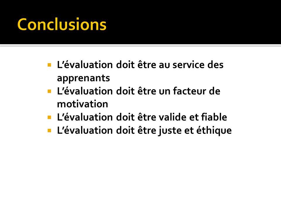 Lévaluation doit être au service des apprenants Lévaluation doit être un facteur de motivation Lévaluation doit être valide et fiable Lévaluation doit