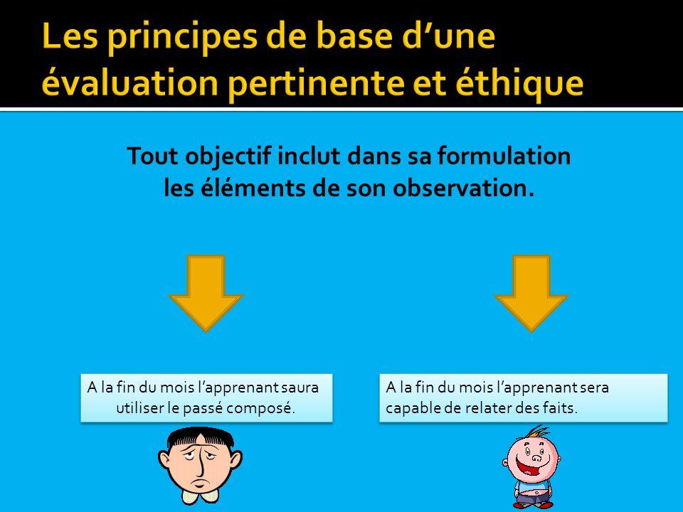 Toute évaluation doit évaluer ce quelle prétend évaluer (notion de validité ou congruence).
