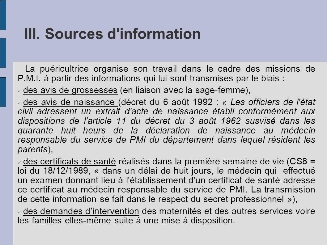 III. Sources d'information La puéricultrice organise son travail dans le cadre des missions de P.M.I. à partir des informations qui lui sont transmise
