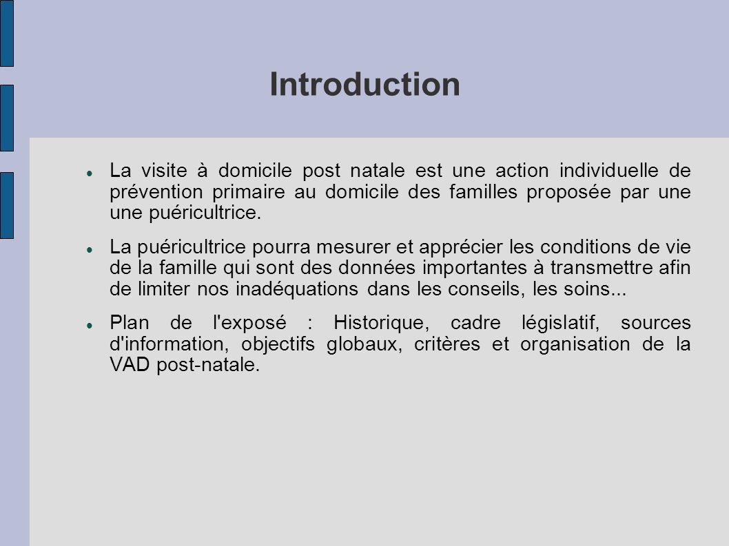 Introduction La visite à domicile post natale est une action individuelle de prévention primaire au domicile des familles proposée par une une puéricu