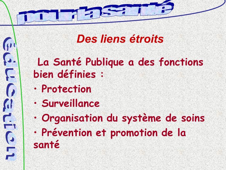 Des liens étroits La Santé Publique a des fonctions bien définies : Protection Surveillance Organisation du système de soins Prévention et promotion de la santé