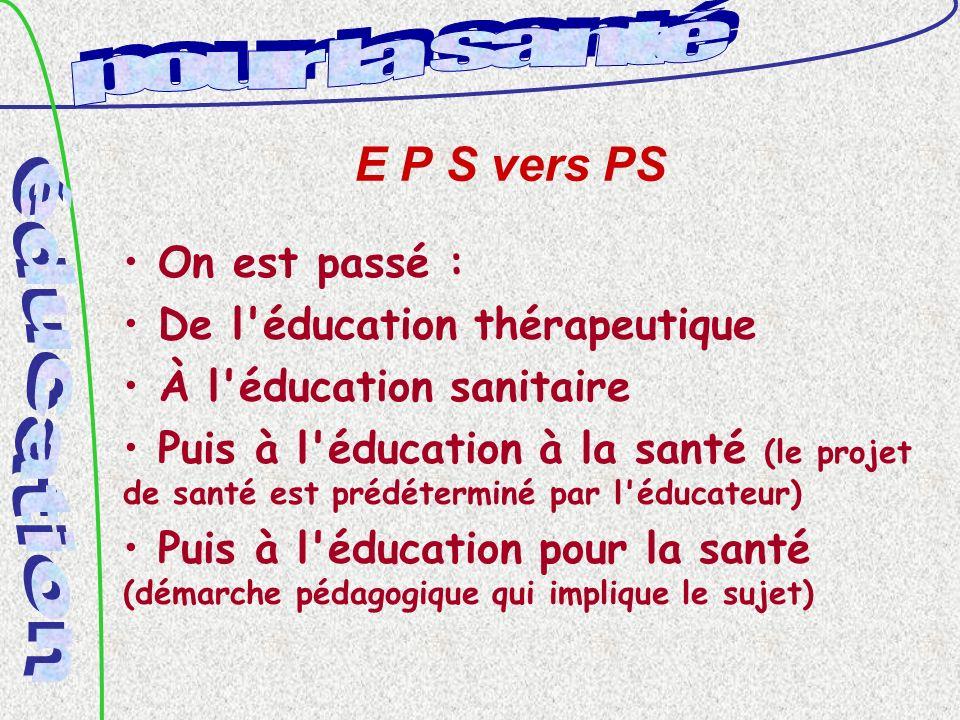 E P S vers PS On est passé : De l éducation thérapeutique À l éducation sanitaire Puis à l éducation à la santé (le projet de santé est prédéterminé par l éducateur) Puis à l éducation pour la santé (démarche pédagogique qui implique le sujet)