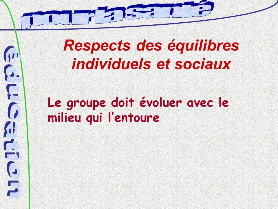 Respects des équilibres individuels et sociaux Le groupe doit évoluer avec le milieu qui lentoure