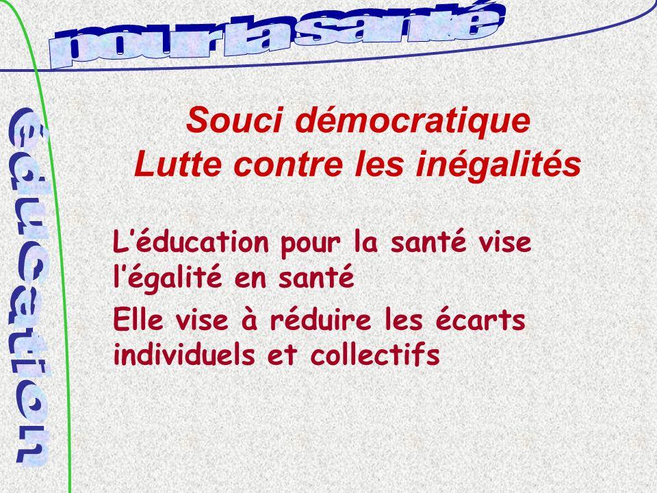 Souci démocratique Lutte contre les inégalités Léducation pour la santé vise légalité en santé Elle vise à réduire les écarts individuels et collectifs