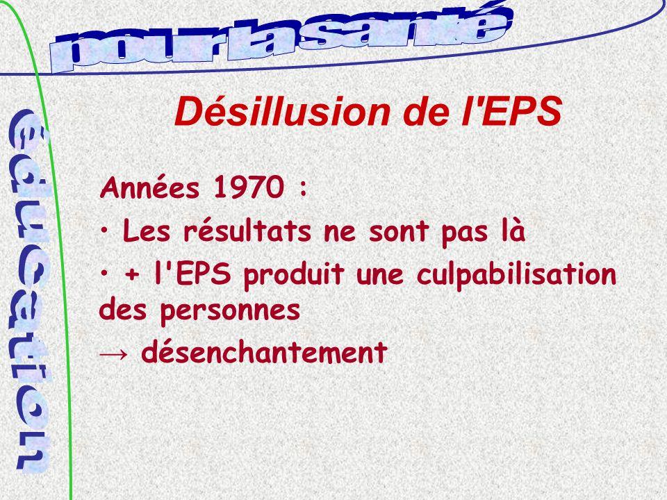 Désillusion de l EPS Années 1970 : Les résultats ne sont pas là + l EPS produit une culpabilisation des personnes désenchantement