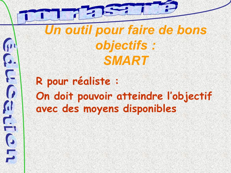 Un outil pour faire de bons objectifs : SMART R pour réaliste : On doit pouvoir atteindre lobjectif avec des moyens disponibles