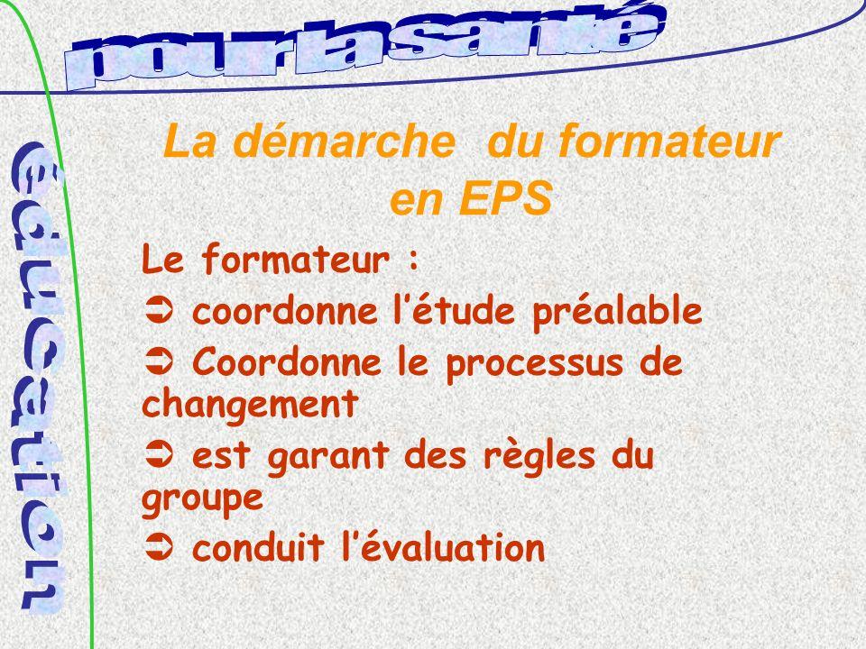 La démarche du formateur en EPS Le formateur : coordonne létude préalable Coordonne le processus de changement est garant des règles du groupe conduit lévaluation