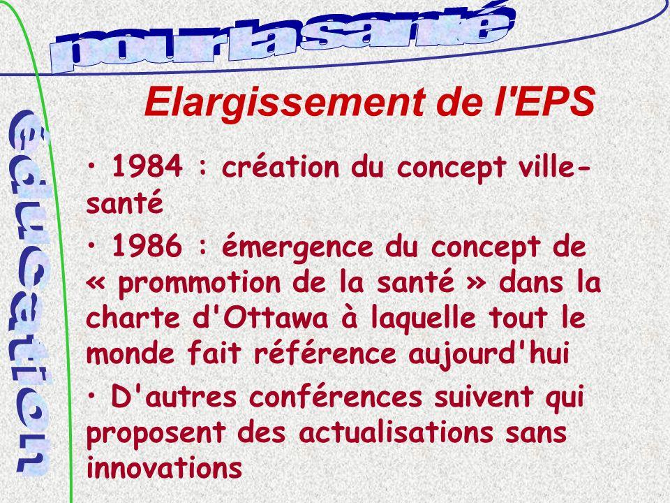 Elargissement de l EPS 1984 : création du concept ville- santé 1986 : émergence du concept de « prommotion de la santé » dans la charte d Ottawa à laquelle tout le monde fait référence aujourd hui D autres conférences suivent qui proposent des actualisations sans innovations