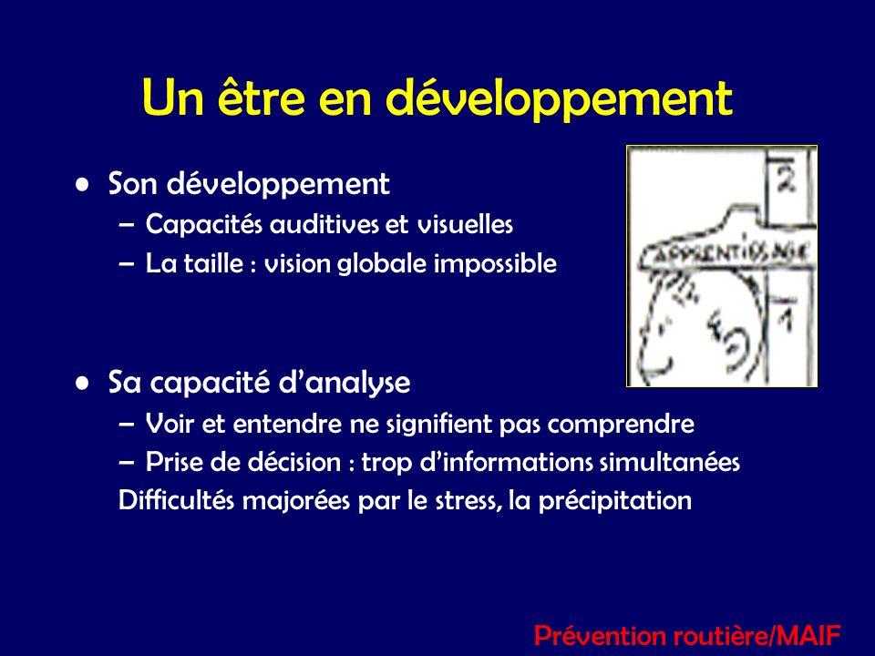 Un être en développement Son développement –Capacités auditives et visuelles –La taille : vision globale impossible Sa capacité danalyse –Voir et ente
