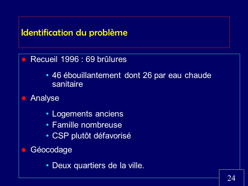Identification du problème Recueil 1996 : 69 brûlures 46 ébouillantement dont 26 par eau chaude sanitaire Analyse Logements anciens Famille nombreuse