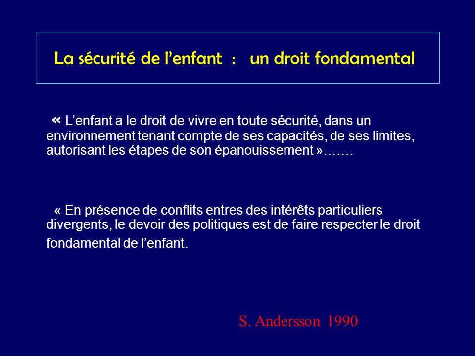 La sécurité de lenfant : un droit fondamental « Lenfant a le droit de vivre en toute sécurité, dans un environnement tenant compte de ses capacités, d