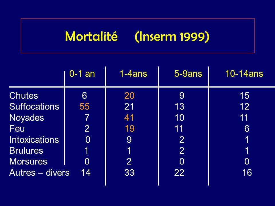 Mortalité (Inserm 1999) 0-1 an1-4ans5-9ans 10-14ans Chutes 6 20 9 15 Suffocations 55 2113 12 Noyades 7 4110 11 Feu 2 1911 6 Intoxications 0 9 2 1 Brul