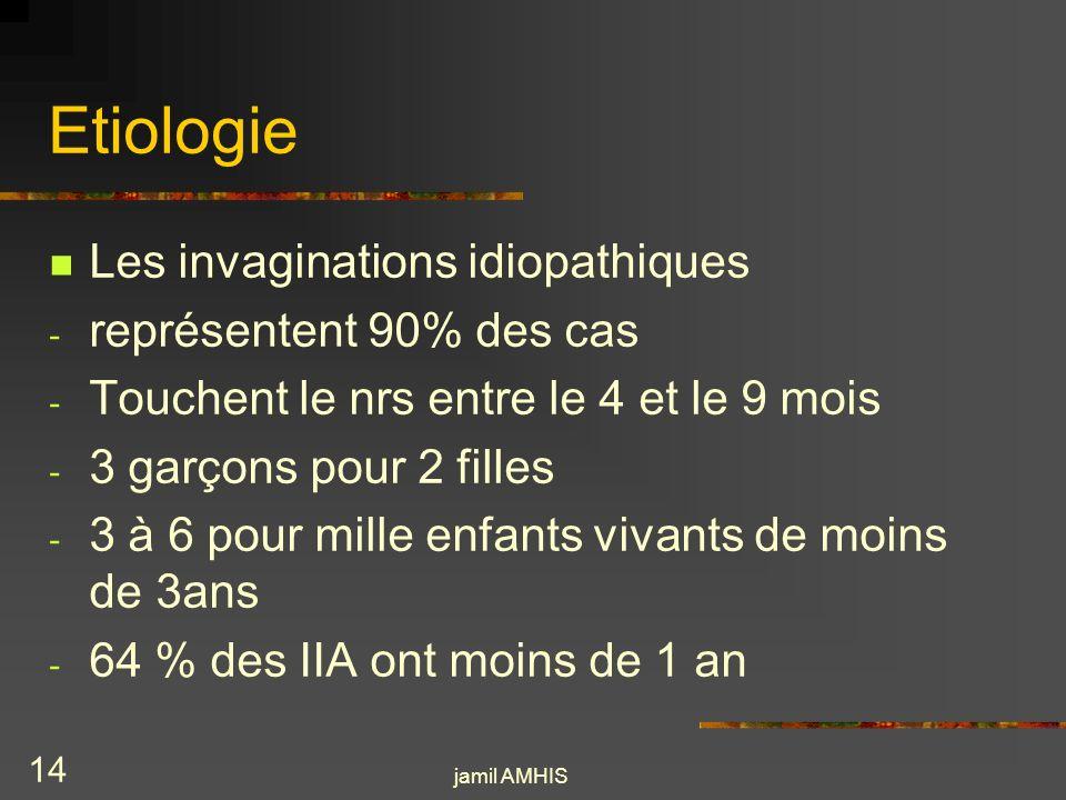 jamil AMHIS 13 Etiologie Les invaginations avec une pathologie associée - le purpura rhumatoïde - Le syndrome hémolytique et urémique - La mucoviscidose - Les IIA post opératoires