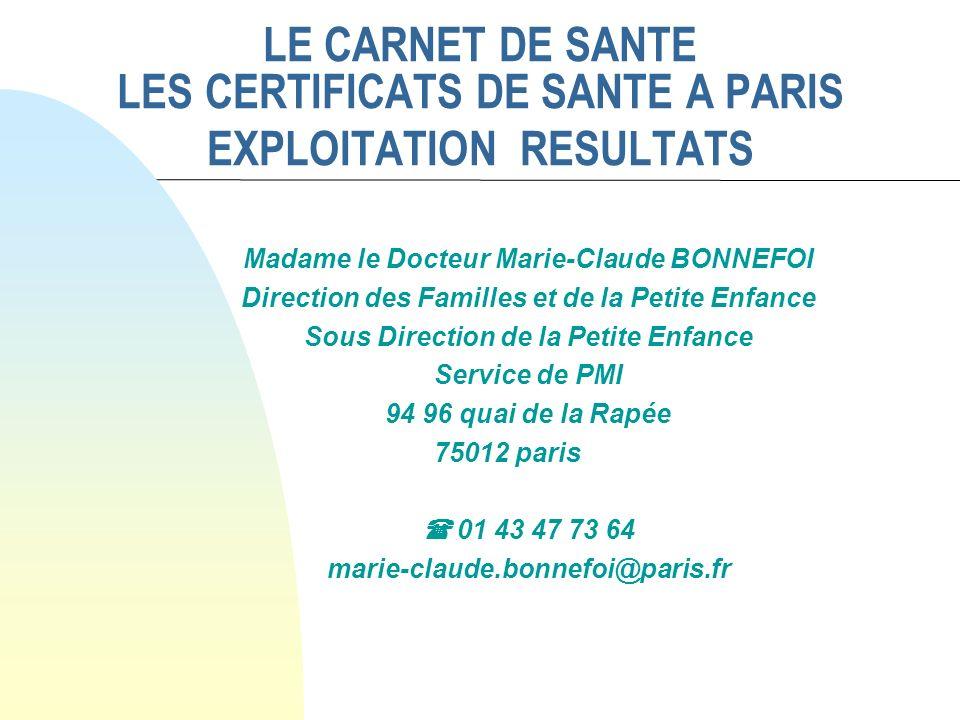 LE CARNET DE SANTE LES CERTIFICATS DE SANTE A PARIS EXPLOITATION RESULTATS Madame le Docteur Marie-Claude BONNEFOI Direction des Familles et de la Pet