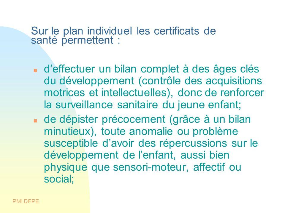 PMI DFPE Sur le plan individuel les certificats de santé permettent : deffectuer un bilan complet à des âges clés du développement (contrôle des acqui