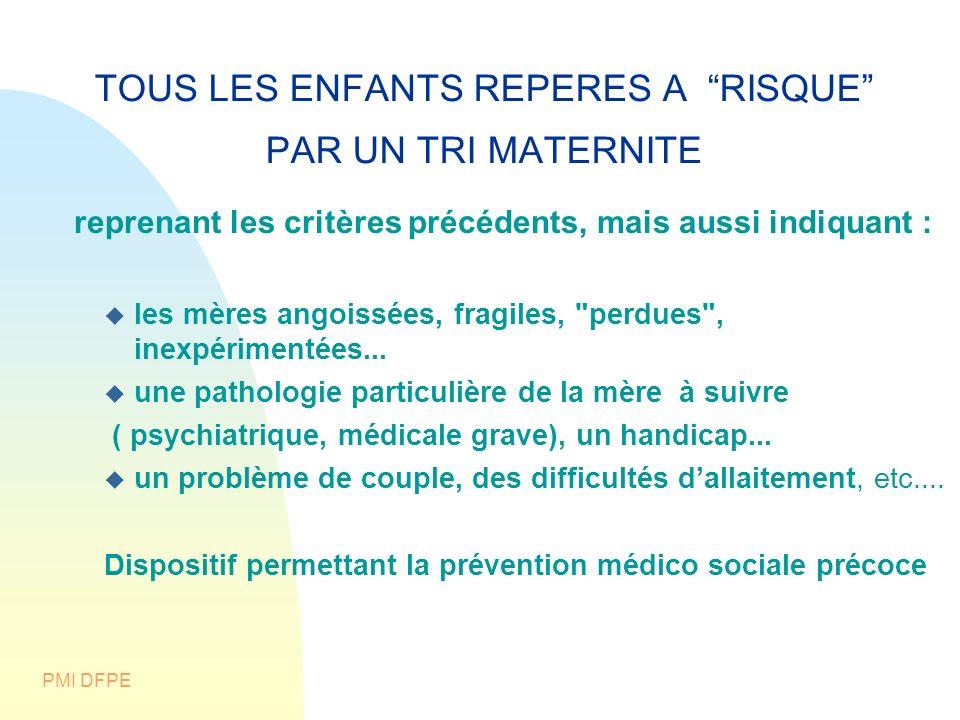 PMI DFPE TOUS LES ENFANTS REPERES A RISQUE PAR UN TRI MATERNITE reprenant les critères précédents, mais aussi indiquant : les mères angoissées, fragil