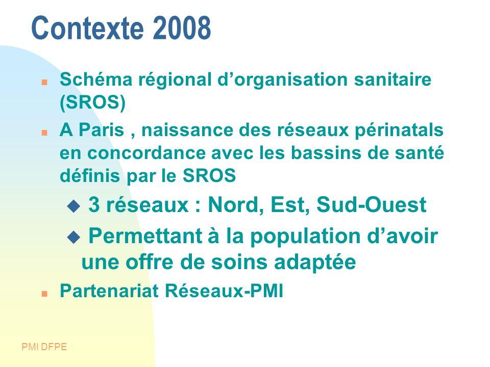 PMI DFPE Contexte 2008 Schéma régional dorganisation sanitaire (SROS) A Paris, naissance des réseaux périnatals en concordance avec les bassins de san