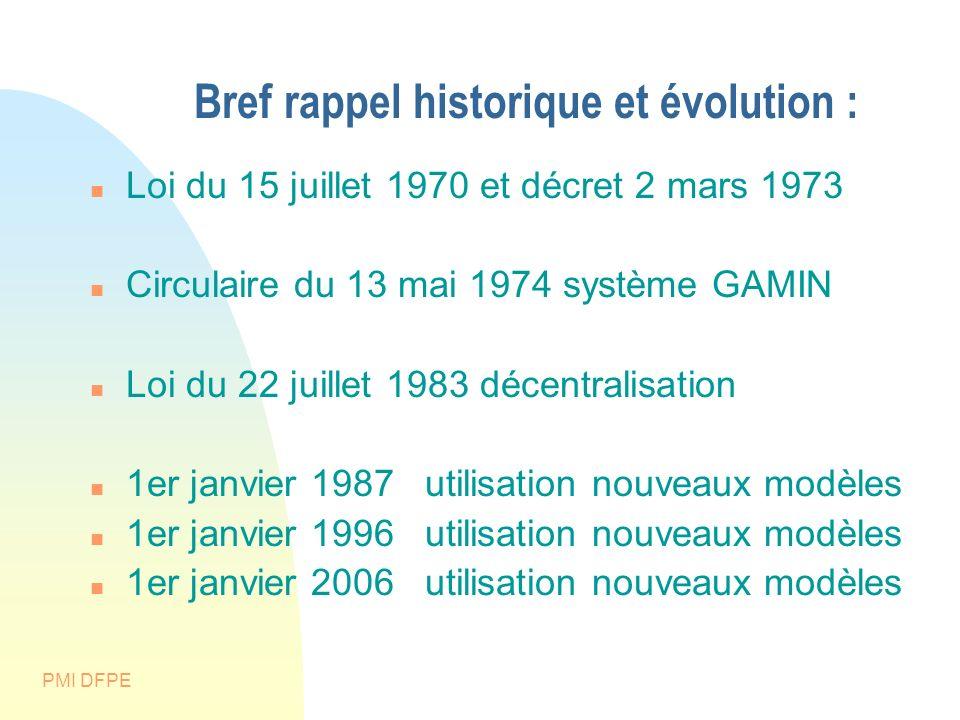 PMI DFPE Bref rappel historique et évolution : Loi du 15 juillet 1970 et décret 2 mars 1973 Circulaire du 13 mai 1974 système GAMIN Loi du 22 juillet