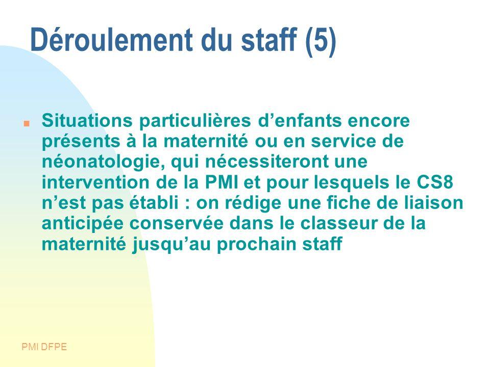 PMI DFPE Déroulement du staff (5) Situations particulières denfants encore présents à la maternité ou en service de néonatologie, qui nécessiteront un