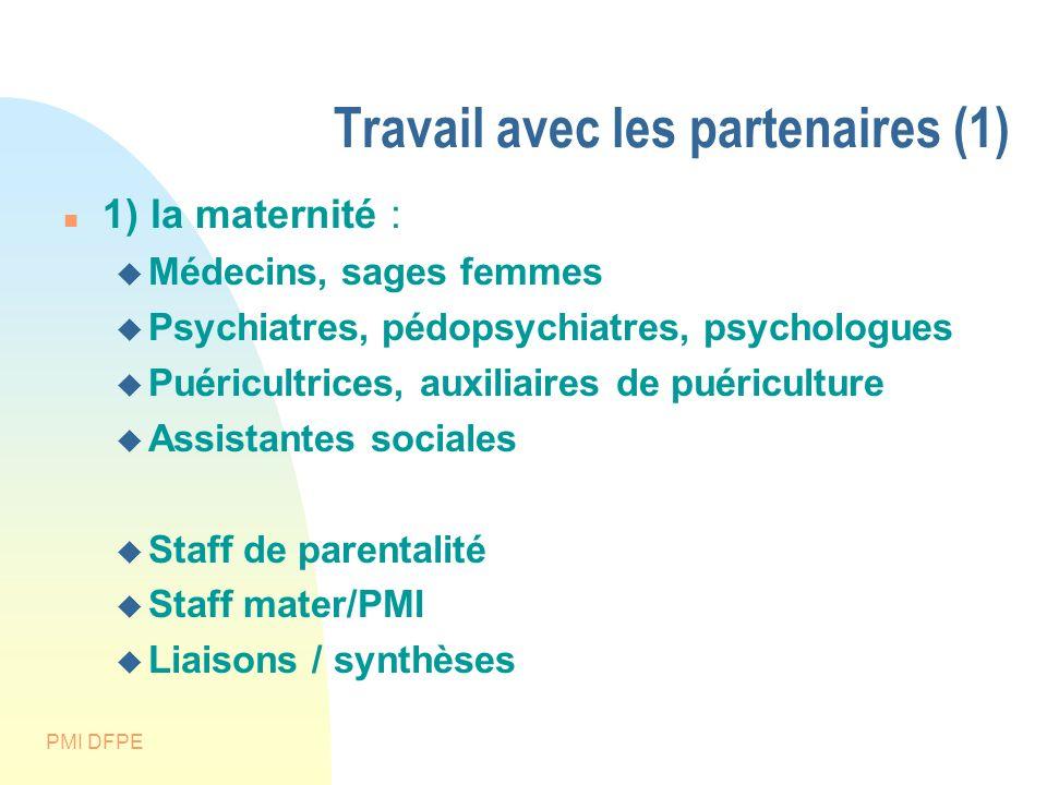 PMI DFPE Travail avec les partenaires (1) 1) la maternité : Médecins, sages femmes Psychiatres, pédopsychiatres, psychologues Puéricultrices, auxiliai