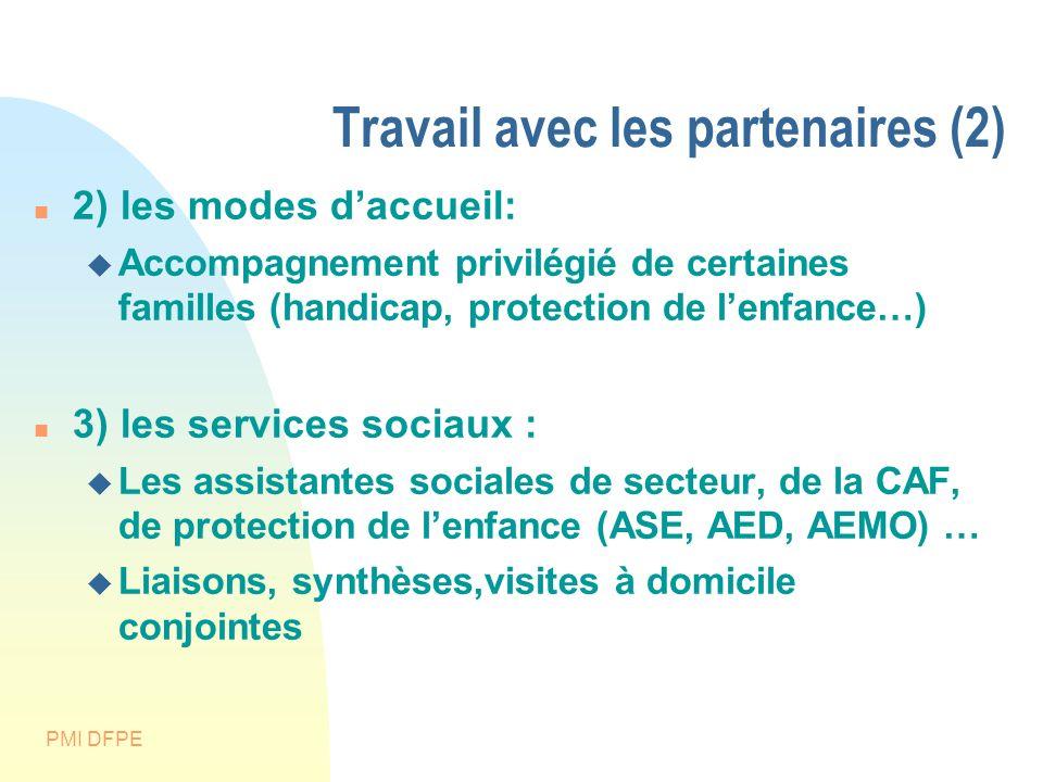 PMI DFPE Travail avec les partenaires (2) 2) les modes daccueil: Accompagnement privilégié de certaines familles (handicap, protection de lenfance…) 3